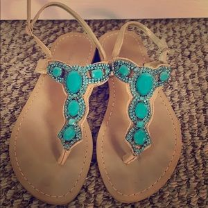 Blue stone sandals